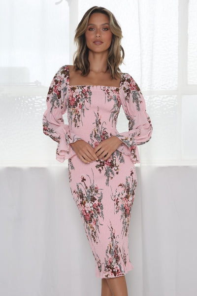 Imogen Long Sleeve Dress - Pink Floral