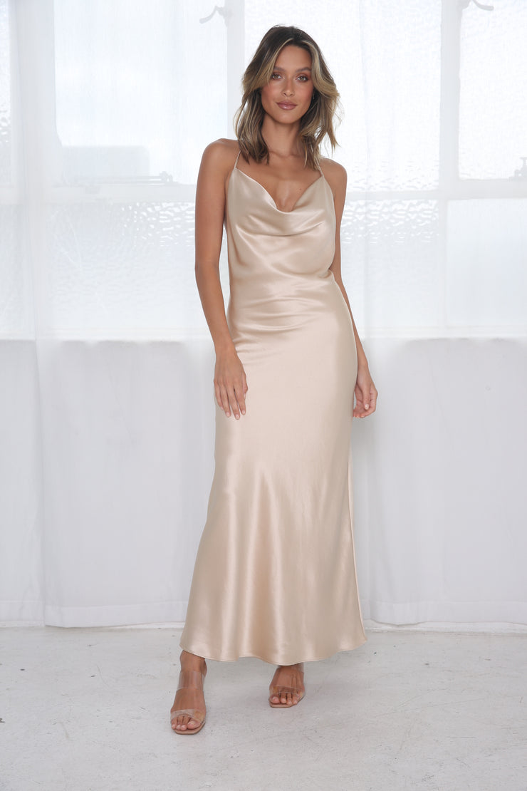 Sophia Cowl Midi Dress - Champagne