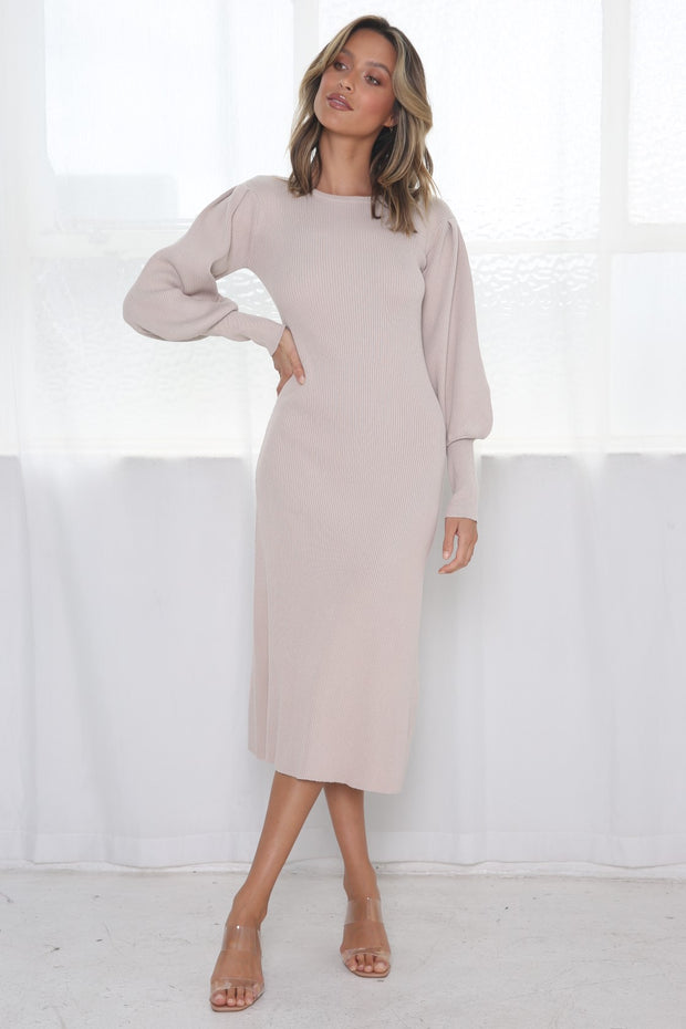 Lori Bell Sleeve Dress - Beige