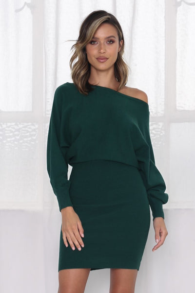 Sweater Knit Slouch Dress - Forest Green