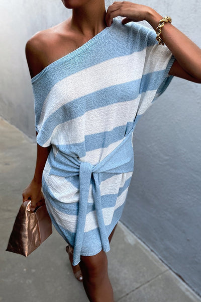 Amara Knit Dress - Blue Stripe
