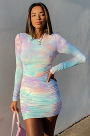 Tie Dye Long Sleeve Dress - Lilac
