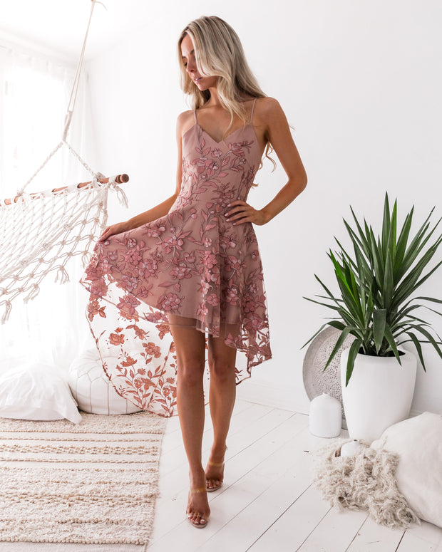 Saskia High Low Dress - Embroidery Rose - SHOPJAUS - JAUS