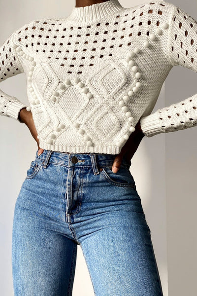 Pom Sweater - White