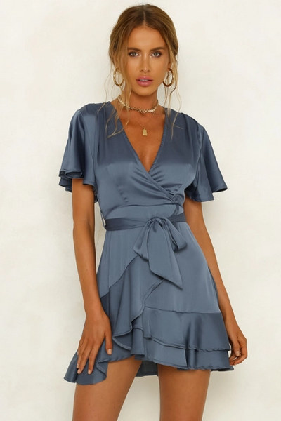 Almeria Dress - Steel Blue - SHOPJAUS - JAUS