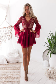 Alyse Dress - Wine - SHOPJAUS - JAUS