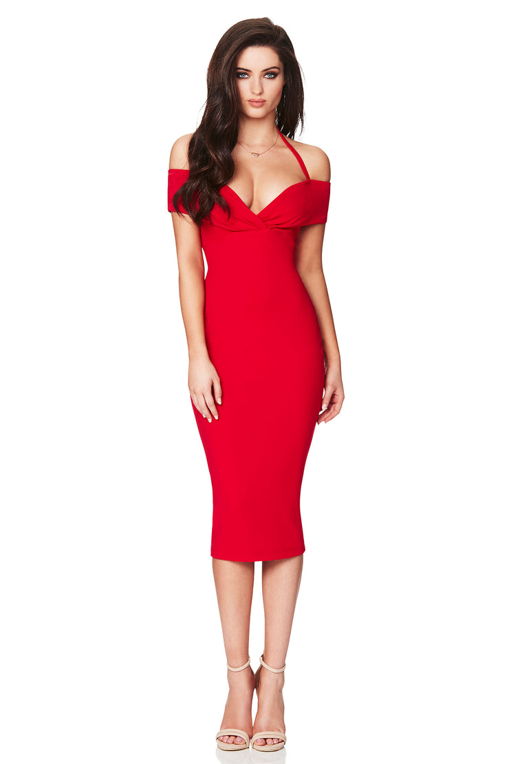 Nookie Athena Off Shoulder Midi Dress - Red - SHOPJAUS - JAUS