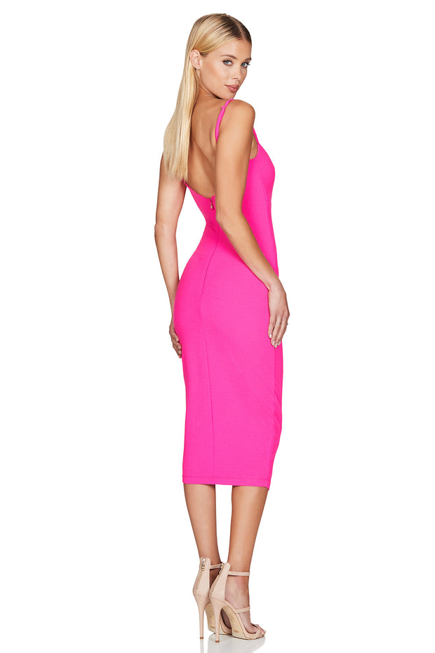 Nookie Bailey Midi Dress - Neon Pink - SHOPJAUS - JAUS
