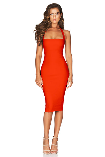 Nookie Boulevard Midi Dress - Tangerine - SHOPJAUS - JAUS