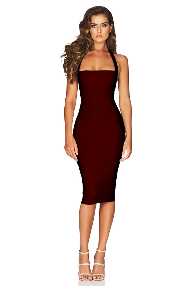 Nookie Boulevard Midi Dress - Wine - SHOPJAUS - JAUS