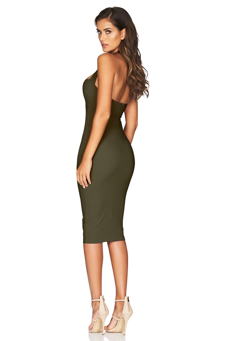 Nookie Boulevard Midi Dress - Olive - SHOPJAUS - JAUS