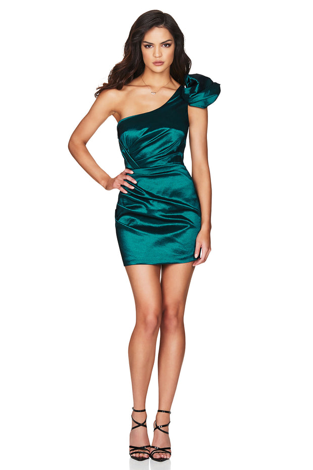 Nookie Candice One Shoulder Mini Dress - Teal - SHOPJAUS - JAUS