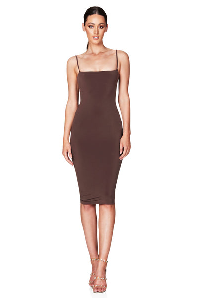 Nookie Charlize Strap Midi Dress - Mocha