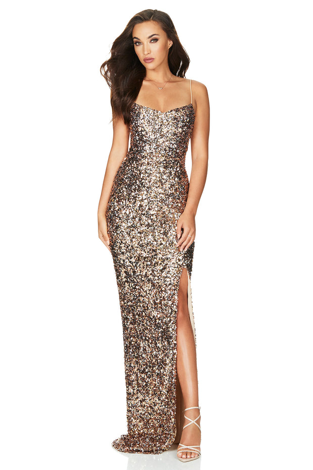 Nookie Confetti Gown - Rose Gold