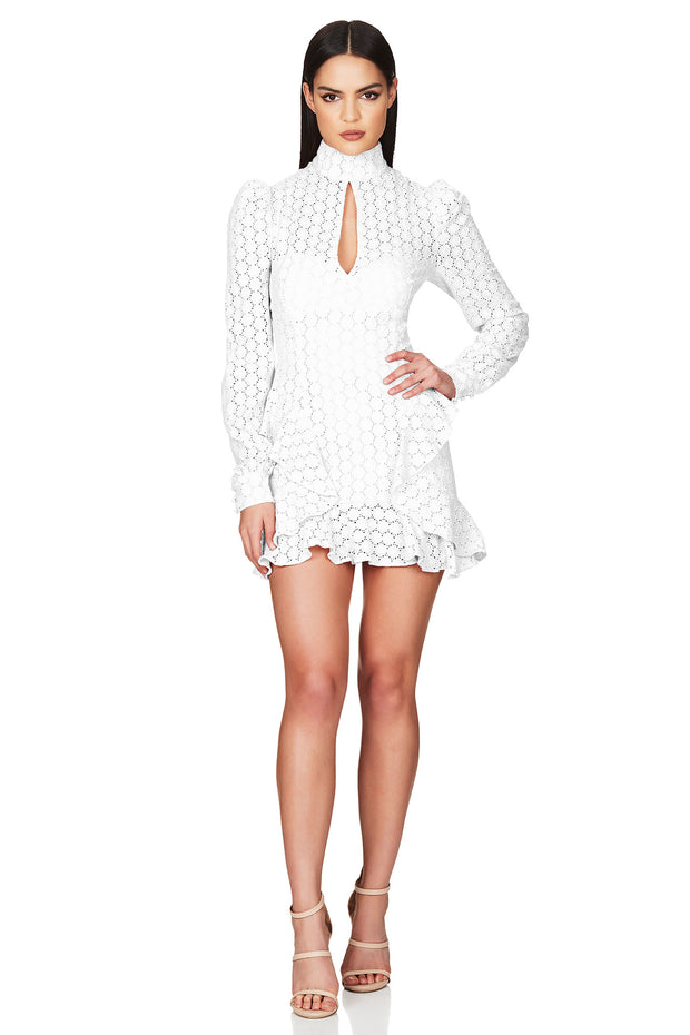 Nookie Darling Long Sleeve Dress - White (PREORDER) - SHOPJAUS - JAUS