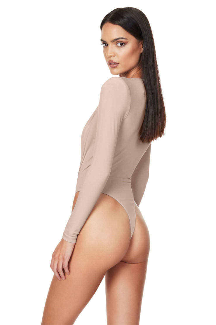 Nookie Dasha Plunge Bodysuit - Latte