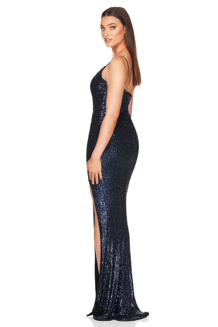 Nookie Demi One Shoulder Gown - Navy