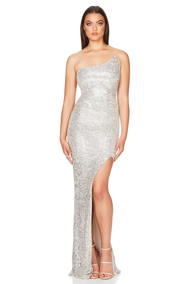 Nookie Demi One Shoulder Gown - Silver