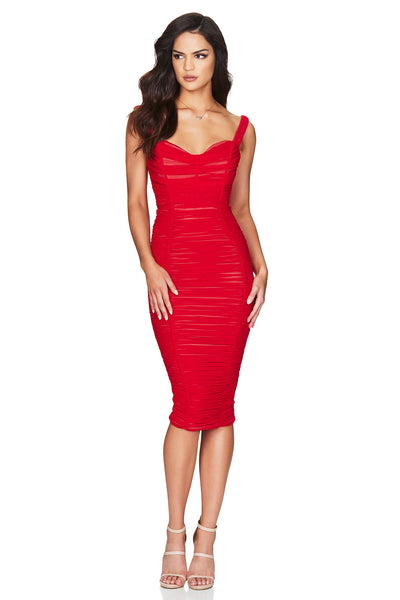 Nookie Dita Mesh Midi Dress - Red/Nude - SHOPJAUS - JAUS