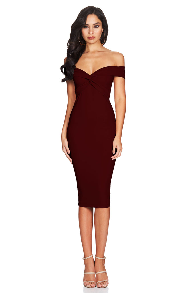 Nookie Dolly Midi Dress - Wine - SHOPJAUS - JAUS