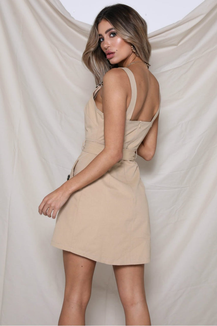 Dora Dress - Tan - SHOPJAUS - JAUS