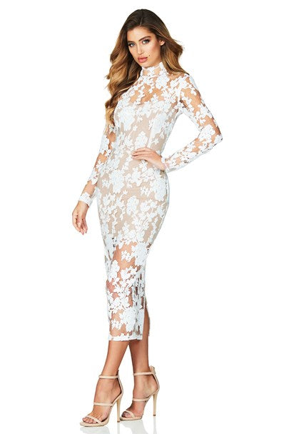 Nookie Enchant Long Sleeve Midi Dress - White/Nude - SHOPJAUS - JAUS
