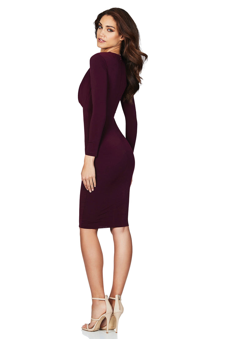Nookie Entice Long Sleeve Midi Dress - Wine - SHOPJAUS - JAUS