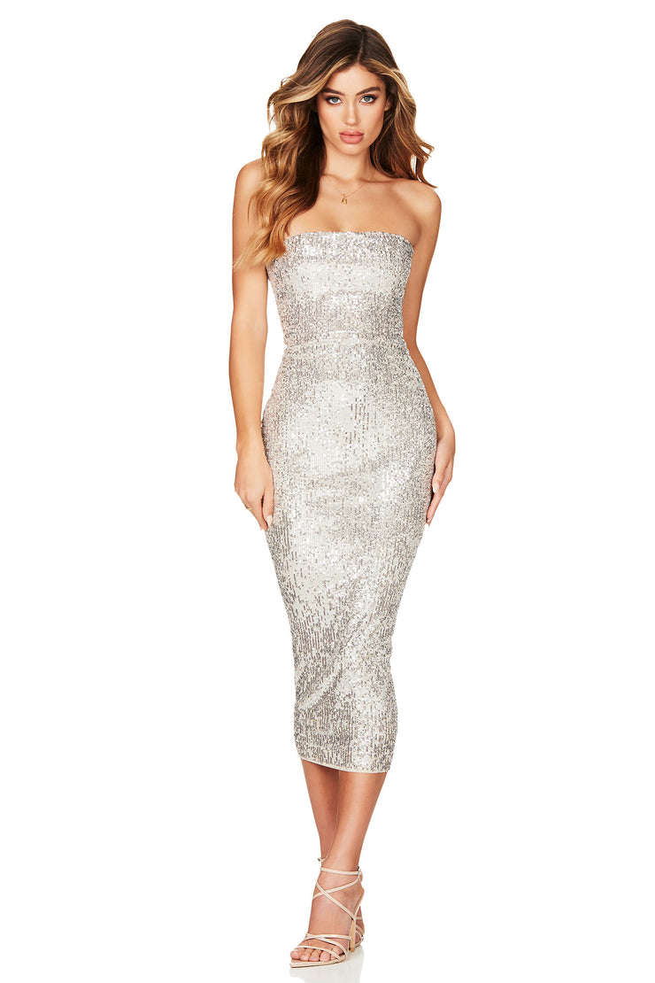 Nookie Fantasy Midi Dress - Silver - SHOPJAUS - JAUS