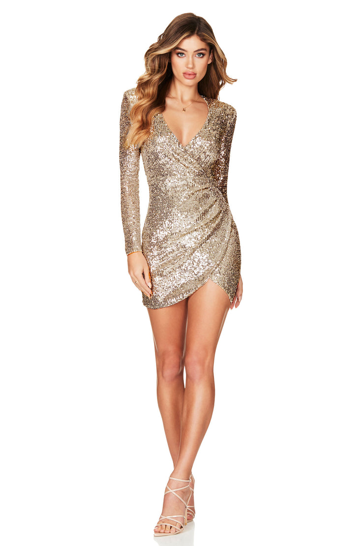 Nookie Fantasy Long Sleeve Mini Dress - Gold - SHOPJAUS - JAUS