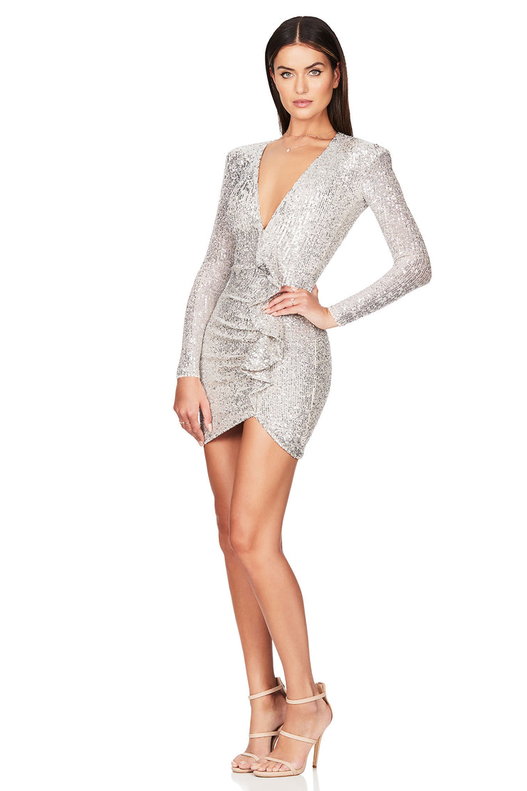 Nookie Galaxy Long Sleeve Mini Dress - Silver - SHOPJAUS - JAUS