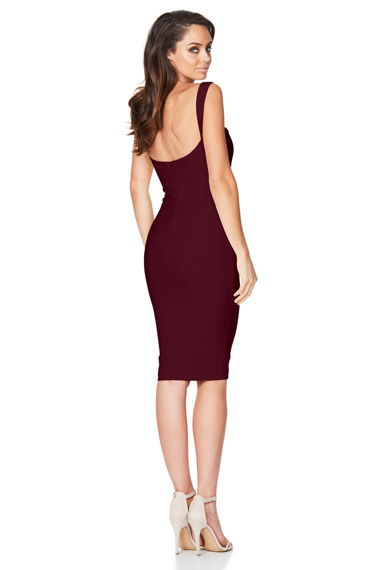 Nookie Glamour Midi Dress - Wine - SHOPJAUS - JAUS