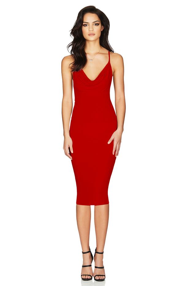Nookie Hustle Midi Dress - Red
