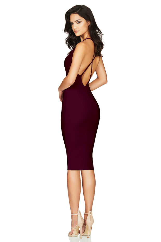 Nookie Hustle Midi Dress - Wine - SHOPJAUS - JAUS