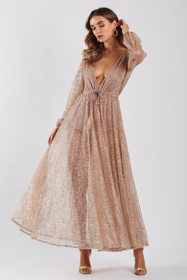 Lucky Star Glitter Gown - Rose Gold (PREORDER) - SHOPJAUS - JAUS