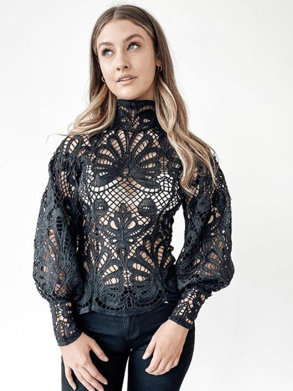 Elizabeth Lace Blouse - Black