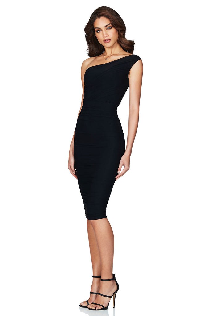 Nookie Inspire One Shoulder Midi Dress - Black