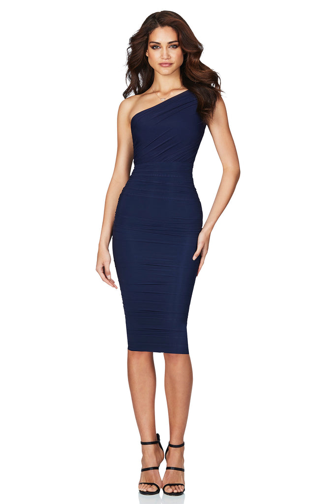 f20a58de9e ... Nookie Inspire One Shoulder Midi Dress - Navy - SHOPJAUS - JAUS ...
