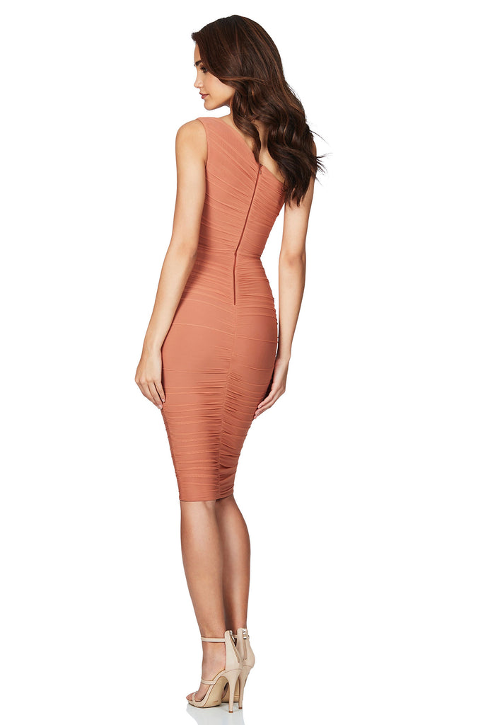 Nookie Inspire One Shoulder Midi Dress - Tan