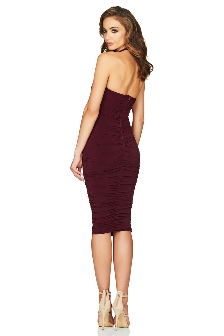 Nookie Jolie Halter Midi Dress - Wine - SHOPJAUS - JAUS