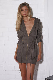 Kendall Mini Dress - Khaki (PREORDER) - SHOPJAUS - JAUS