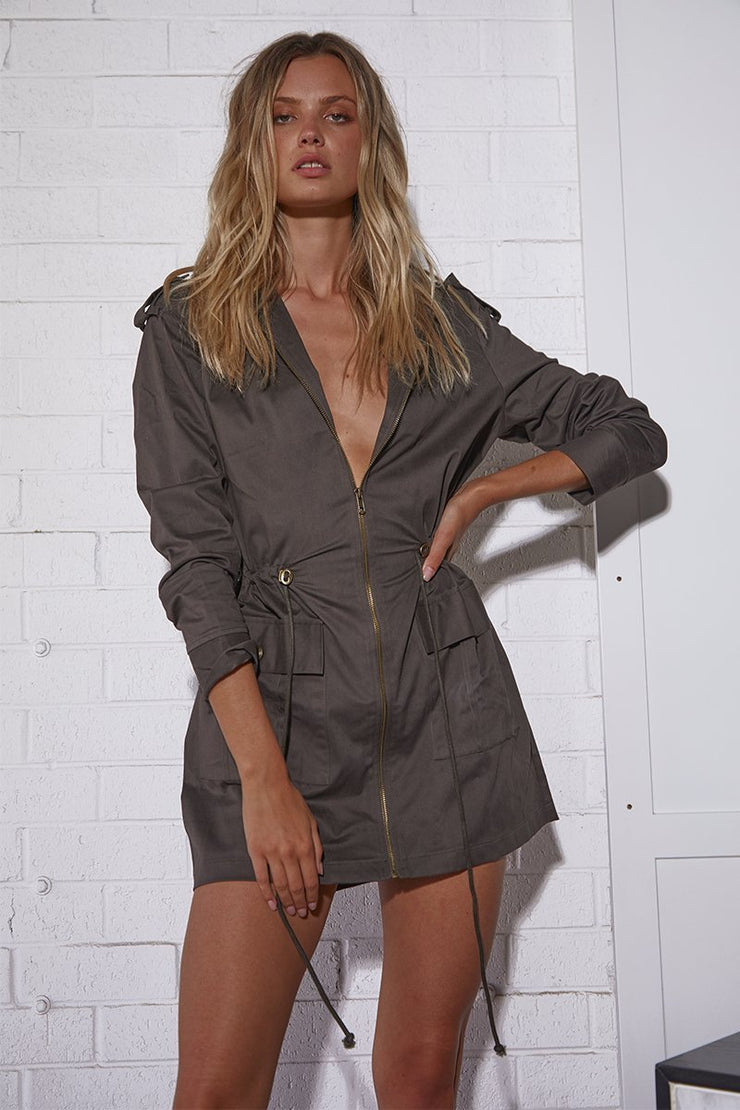 Kendall Mini Dress - Khaki - SHOPJAUS - JAUS
