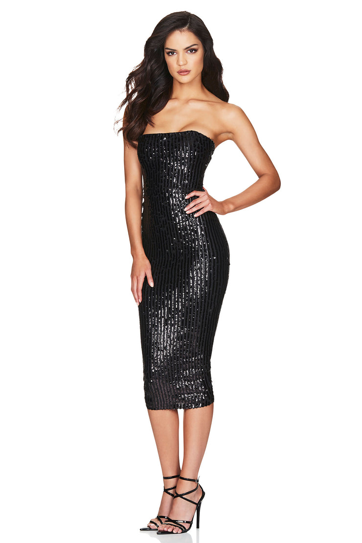 Nookie Kylie Strapless Midi Dress - Black - SHOPJAUS - JAUS