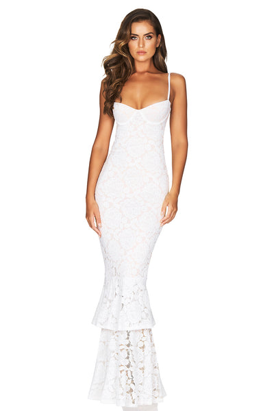 Nookie Liana Lace Gown - White/Nude (PREORDER)