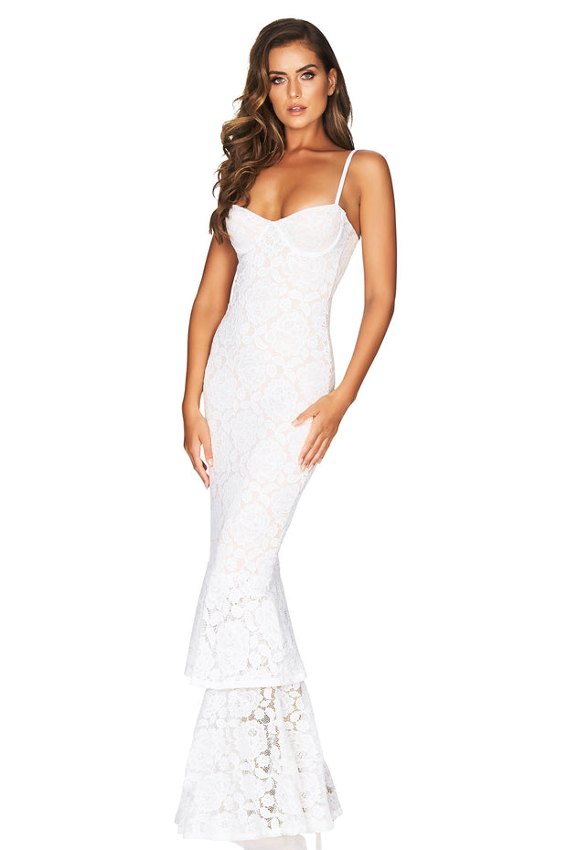 Nookie Liana Lace Gown - White/Nude - SHOPJAUS - JAUS