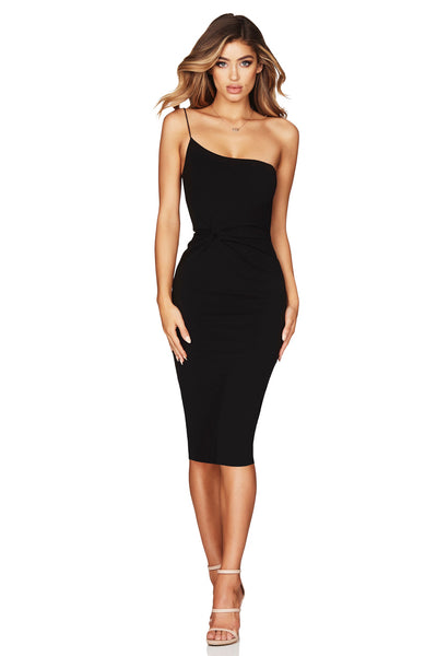 Nookie Lust One Shoulder Midi Dress - Black