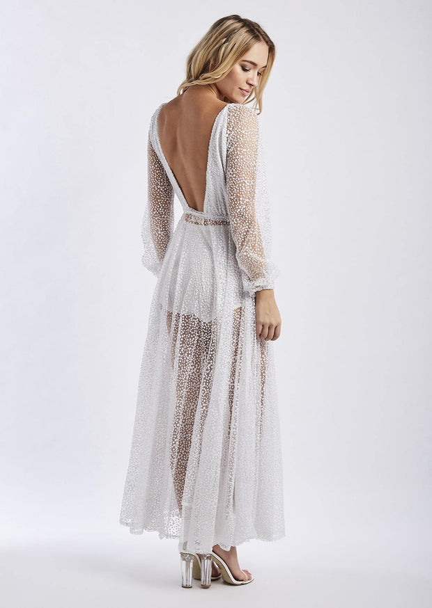 Lucky Star Glitter Gown - White - SHOPJAUS - JAUS