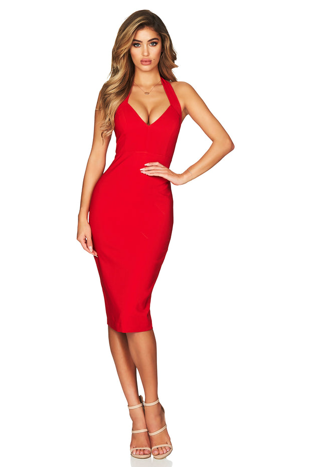 Nookie Magic Halter Midi Dress - Red - SHOPJAUS - JAUS