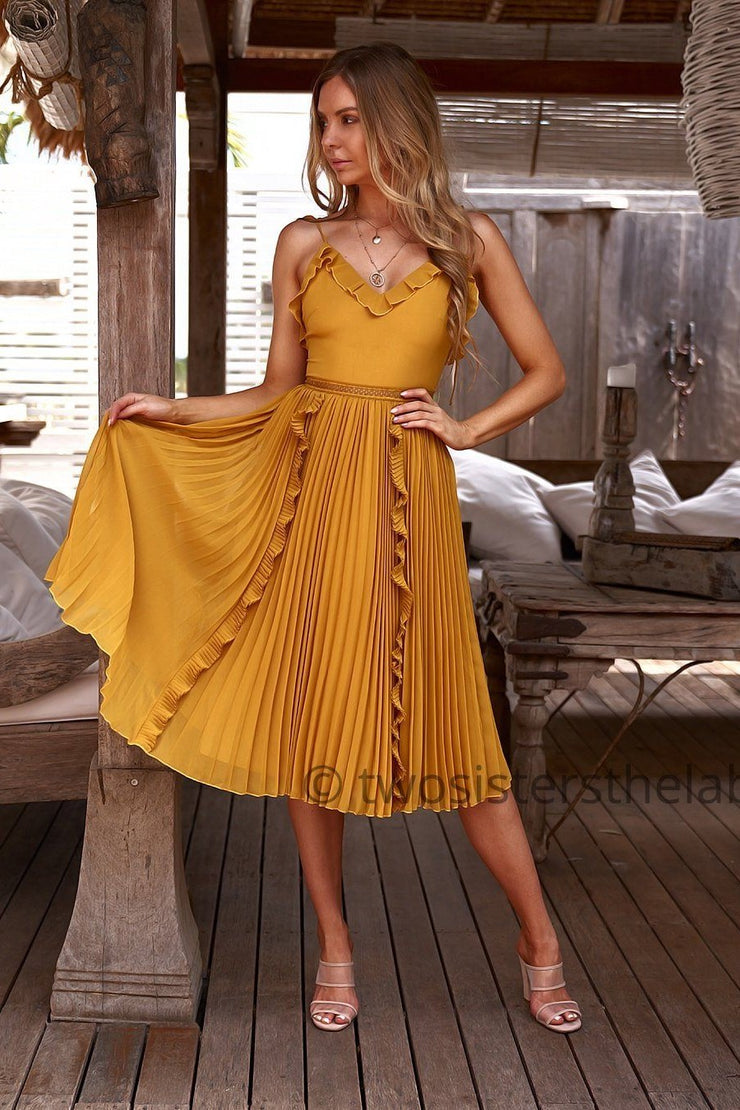 Maia Dress - Mustard (PREORDER) - SHOPJAUS - JAUS