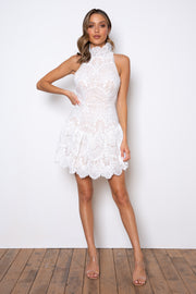 Majesty Dress - White/Nude