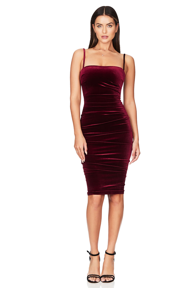 Nookie Mercury Midi Dress - Wine (PREORDER) - SHOPJAUS - JAUS